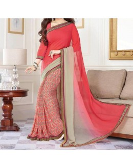 Party Wear Maroon Georgette  Saree - 19910