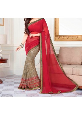 Party Wear Red Georgette  Saree - 19911