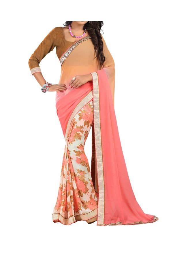 Party Wear Peach Georgette  Saree - 19920
