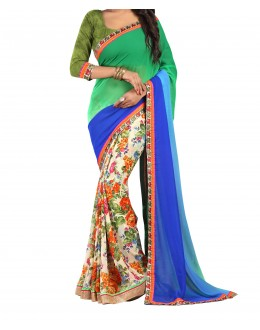 Party Wear Green Georgette  Saree - 19921