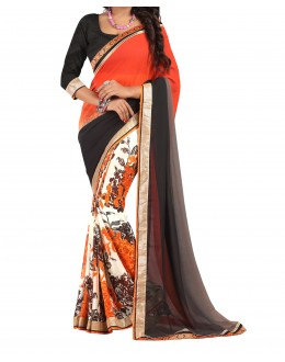 Party Wear Orange Georgette  Saree - 19922