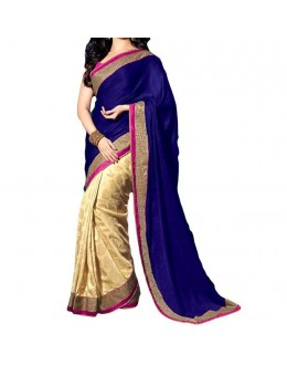 Party Wear Blue Georgette  Saree - 19929