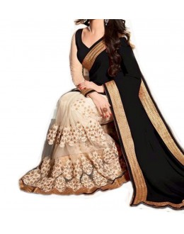 Party Wear Cream Georgette  Saree - 19926