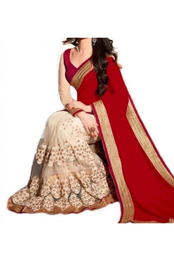 Party Wear Red Georgette  Saree - 19928