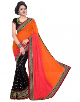 Party Wear Orange Georgette  Saree - 19930
