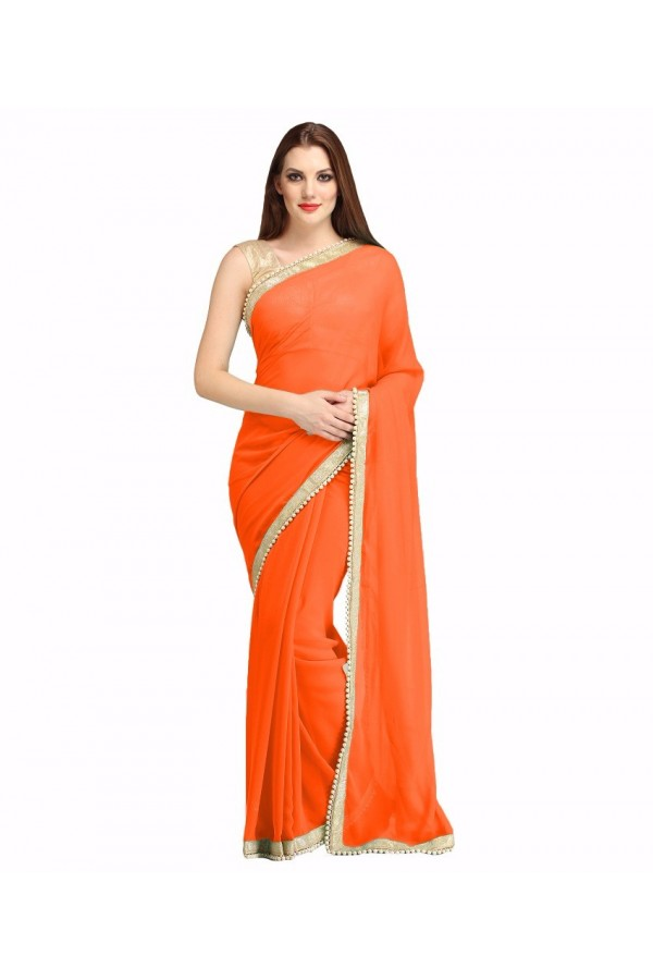 Party Wear Orange Georgette  Saree - 19935