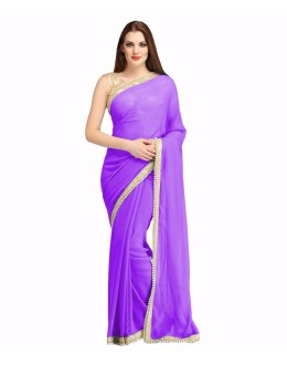 Party Wear Purple Georgette  Saree - 19937