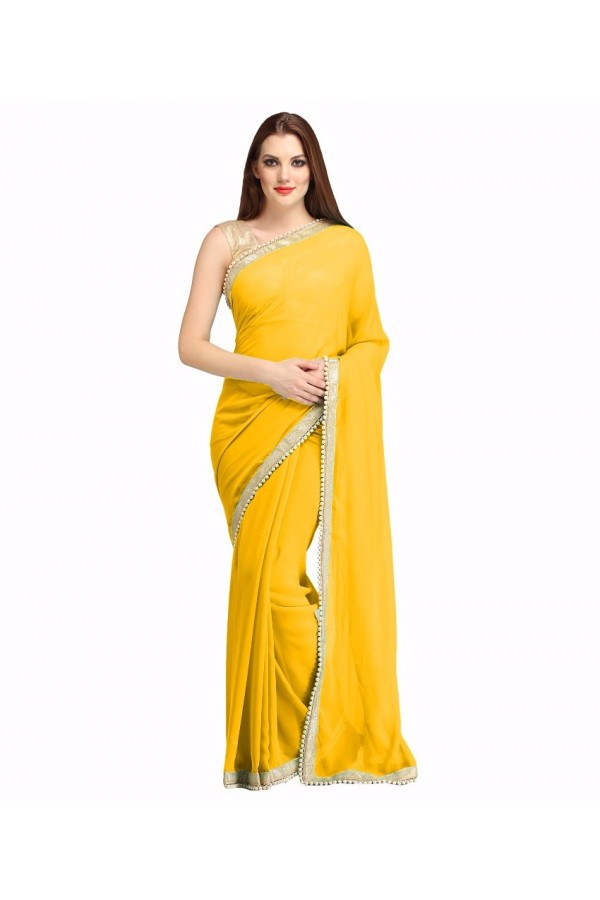 Party Wear Yellow Georgette  Saree - 19939