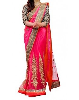 Party Wear Pink Georgette  Saree - 19940
