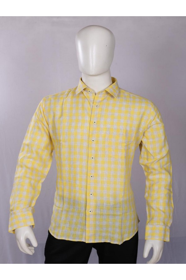 Officer Fit Linen Yellow Semi Formal Shirt - EC1023 - EC01