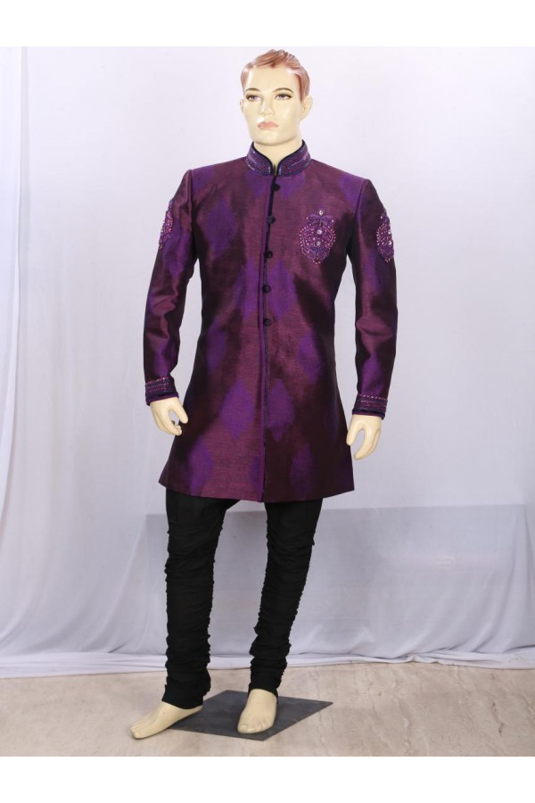 Dark Purple Heavy Embroidered Indowestern - IA6925 - ECIW3