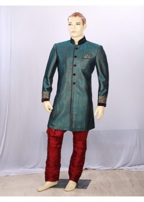 Bottle Green Heavy Embroidered Indowestern - IA6952 - ECIW04