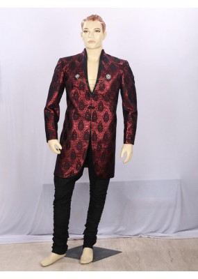 Red Heavy Embroidered Indowestern - IA6976 - ECIW04