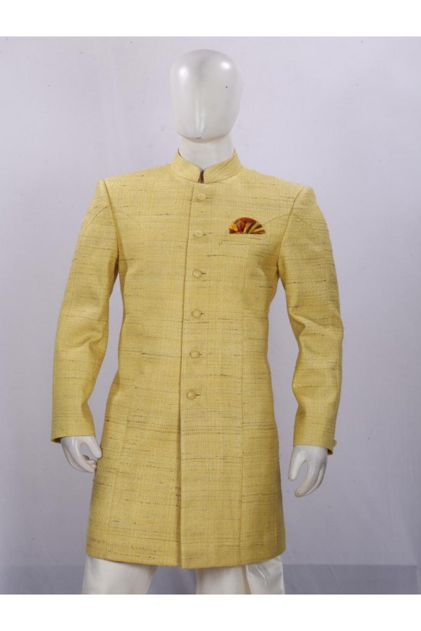 Lemon Button Work Embroidered Indowestern For Men - ECIW09