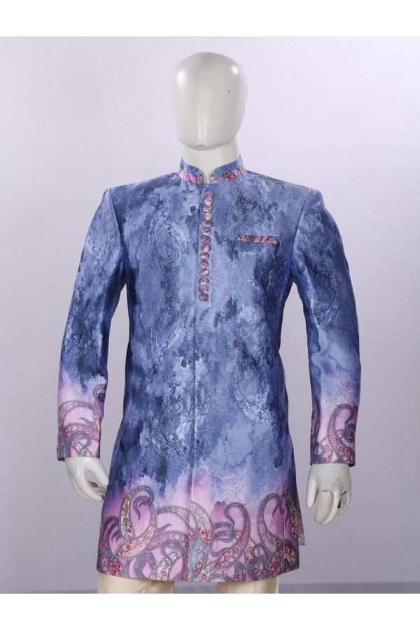 Wedding Wear Blue Indowestern For Men - ECIW09