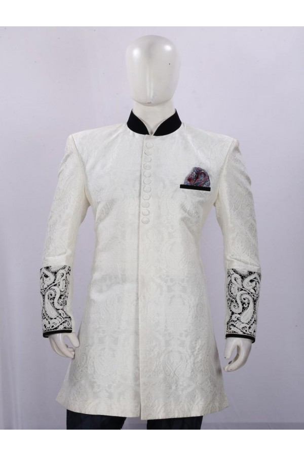 Wedding Wear Cream Indowestern For Men - ECIW09
