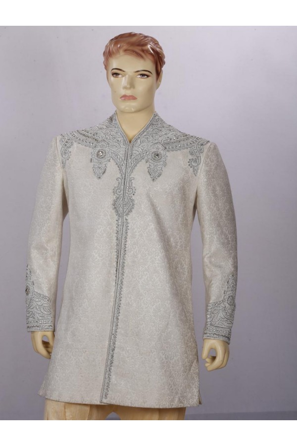 Wedding Wear Dark Cream Indowestern For Men - ECIW09