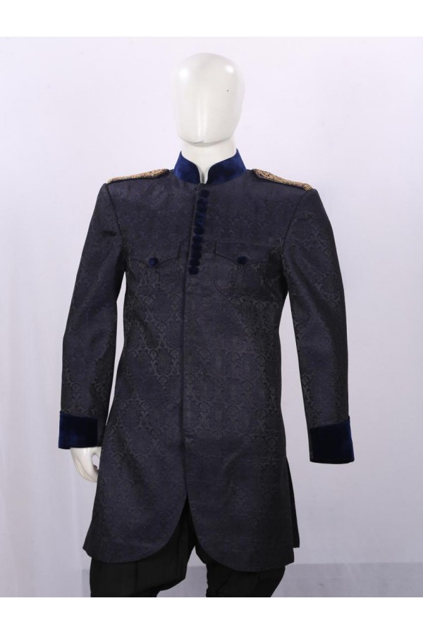Wedding Wear Ice Blue Indowestern For Men - ECIW09