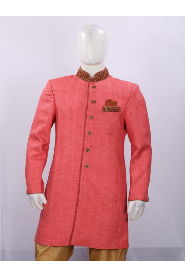 Wedding Wear Light Pink Indowestern For Men - ECIW09