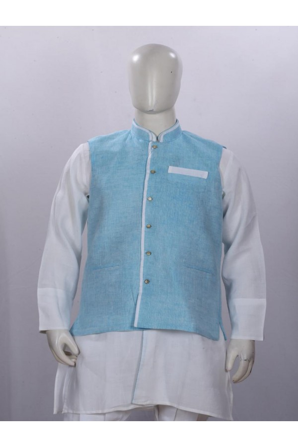 Ethnic Wear Aqua Blue Jacket Kurta Set - ECJKS08
