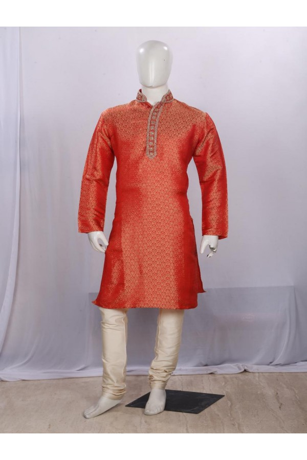 Regular Fit Cotton Red Kurta Pyjama - KE9611 - ECK02