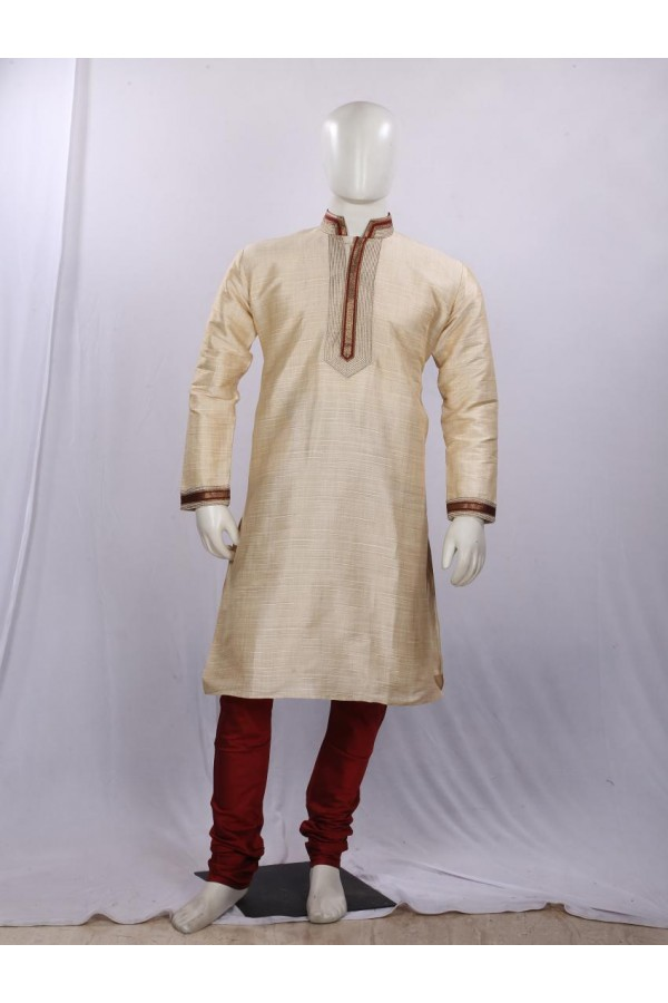 Regular Fit Silk Cream Kurta Pyjama - KD1331 - ECK02