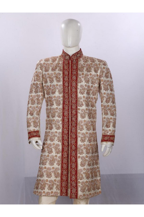 Wedding Wear Beige Sherwani - SA7665 - ECS06