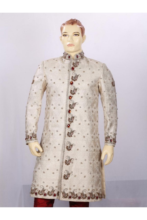 Wedding Wear Cream Sherwani - 3343 - ECS06