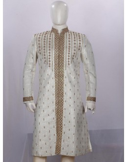 Wedding Wear Cream Sherwani - 353020 - ECS06