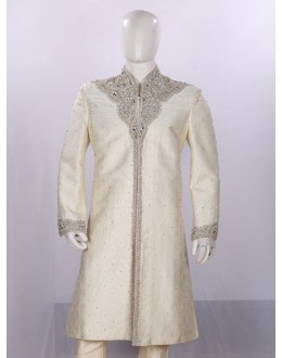 Wedding Wear Cream Sherwani - ST6065 - ECS06