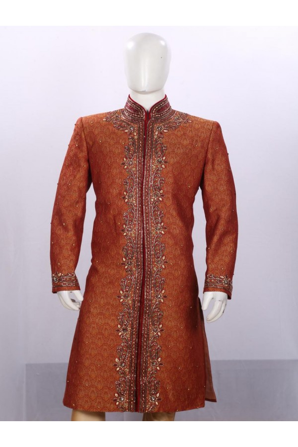 Wedding Wear Dark Maroon Sherwani - SA7925 - ECS06
