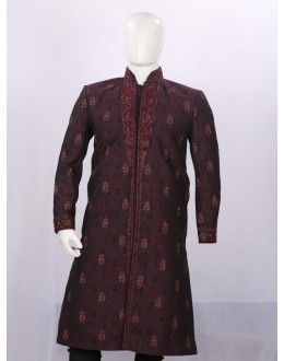 Wedding Wear Dark Maroon Sherwani - ST5072 - ECS06