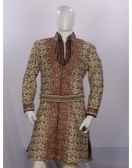 Wedding Wear Dark Pista Sherwani - SA7899 - ECS06