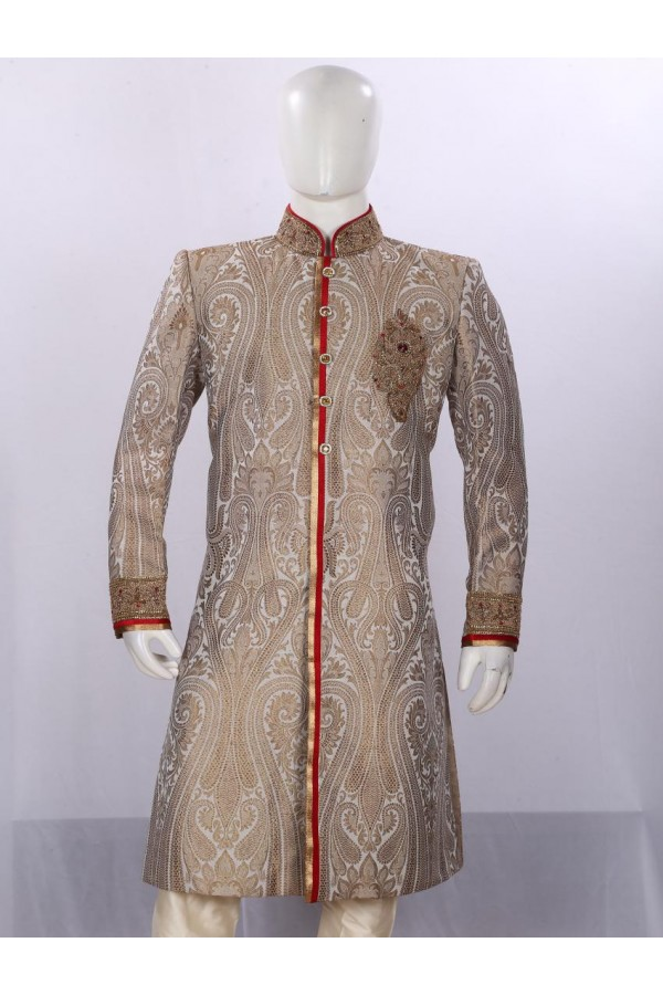 Wedding Wear Light Brown Sherwani - SA7895 - ECS06