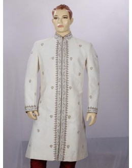 Wedding Wear Light Cream Sherwani - SA7924 - ECS06