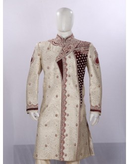 Wedding Wear Light Fawn Sherwani - SB7790 - ECS06