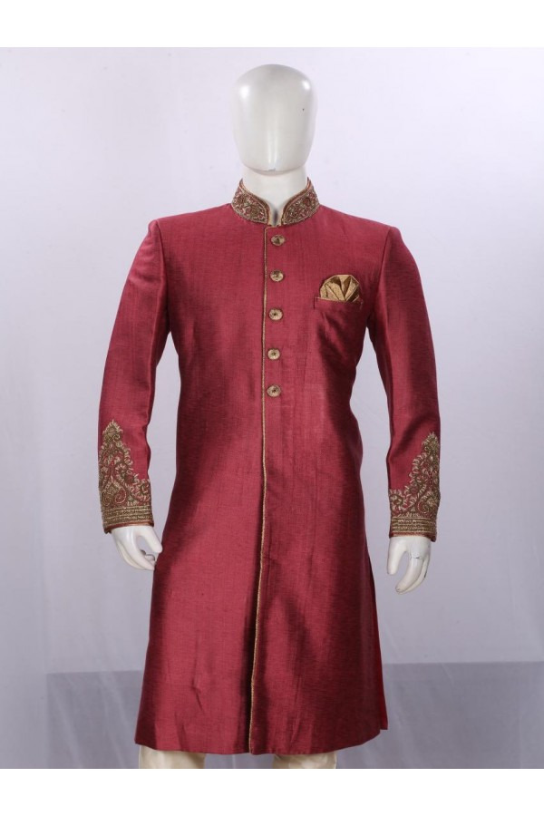 Wedding Wear Light Maroon Sherwani - SA7893 - ECS06