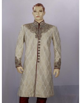 Wedding Wear Light Pista Sherwani - SA7882 - ECS06
