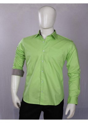 Officer Fit Cotton Green Semi Formal Shirt - EC1005PGREEN
