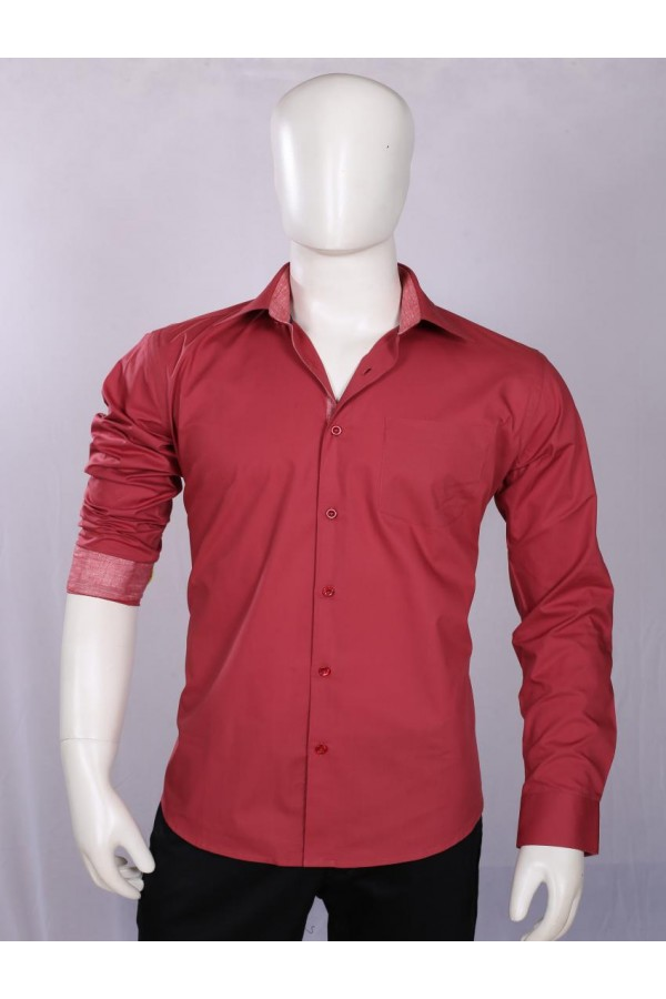 Officer Fit Cotton Wine Semi Formal Shirt - EC1005WNE