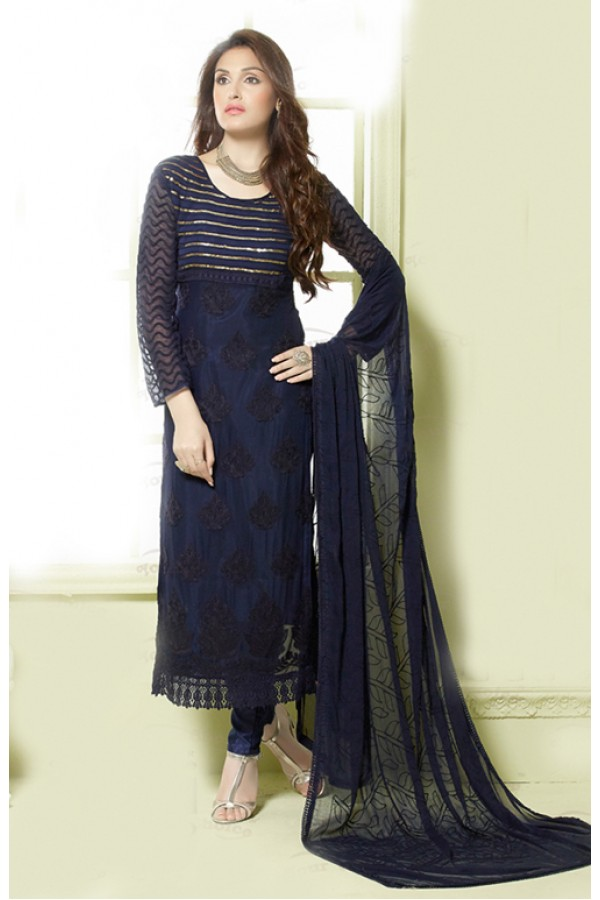 Casual Wear Dark Blue Salwar Suit - FA373-2146