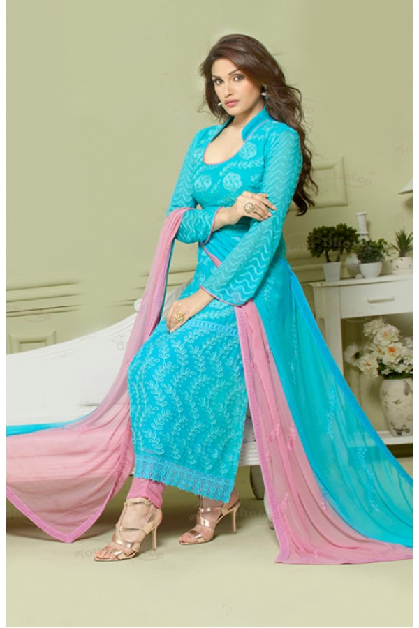 Party Wear Sky Blue Chiffon Salwar Suit - FA373-2150