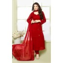 Party Wear Red Chiffon Salwar Suit - FA373-2151