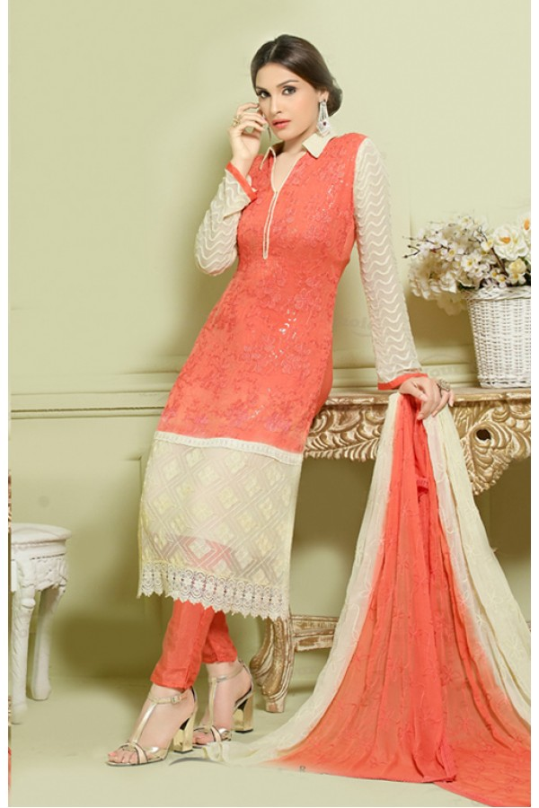 Party Wear Orange Chiffon Salwar Suit - FA373-2152