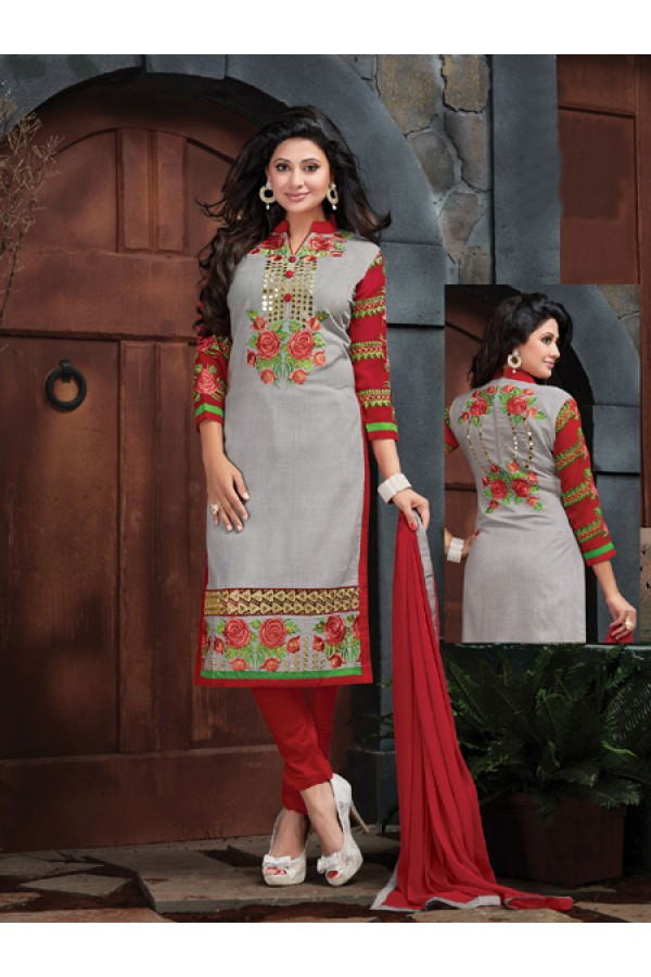Party Wear Grey Cotton Salwar Suit - FA375-4010