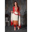 Party Wear White & Red Salwar Suit - FA378-1601
