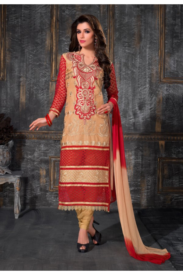 Party Wear Beige & Red Salwar Suit - FA378-1602