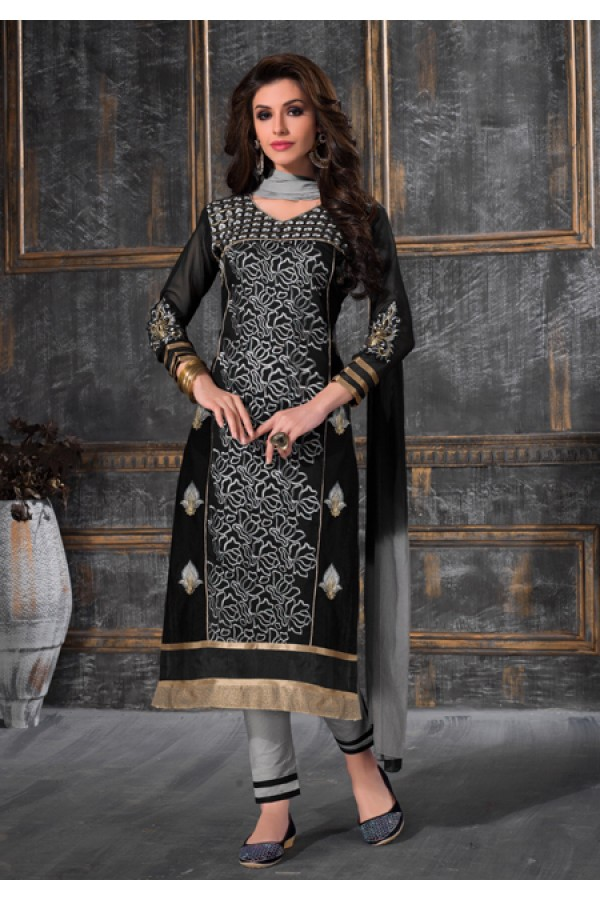 Party Wear Black & Grey Salwar Suit - FA378-1603