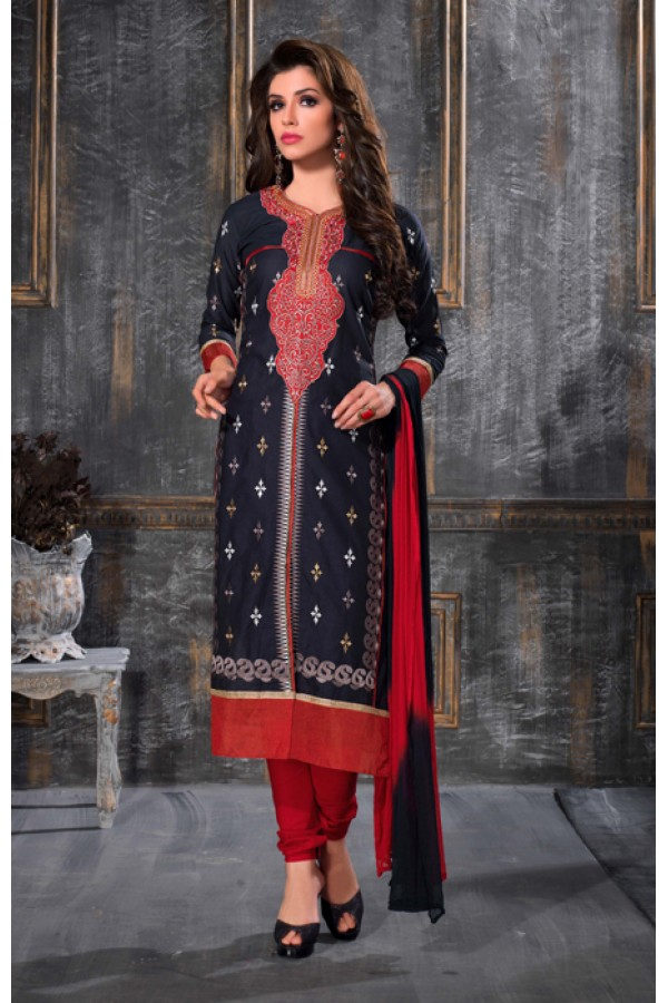 Party Wear Blue & Red Salwar Suit - FA378-1607