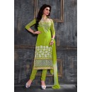 Party Wear Parrot Green Salwar Suit - FA378-1608